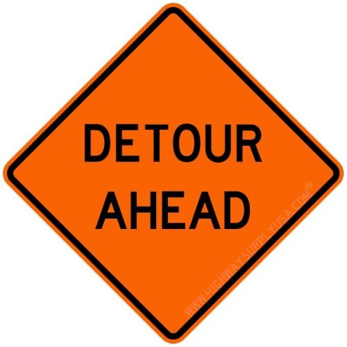 Roll up, Traffic Sign, Detour Ahead, H 48 In.