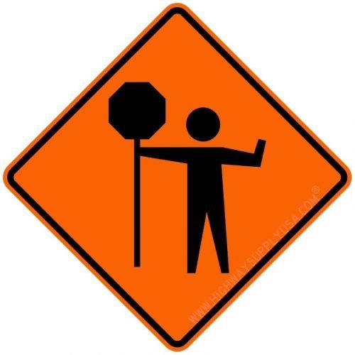 Flagger Sign, Black/Orange, 30 x 30 In