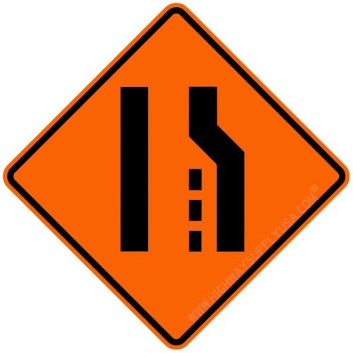 Roll up, Traffic Sign, Right Lane Ends Symbol, 36 In.
