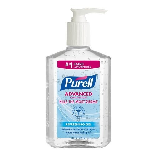 PURELL 9652-12 ADVANCED HAND SANITIZER, 8 FL-OZ, TABLE TOP PUMP BOTTLE PACKING, GEL, FRUITY, CLEAR
