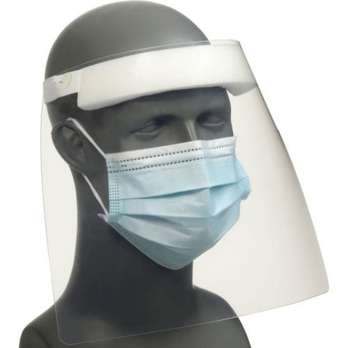 "Disposable Face Shield, Elastic Strap, 11-4/5"" x 9"""